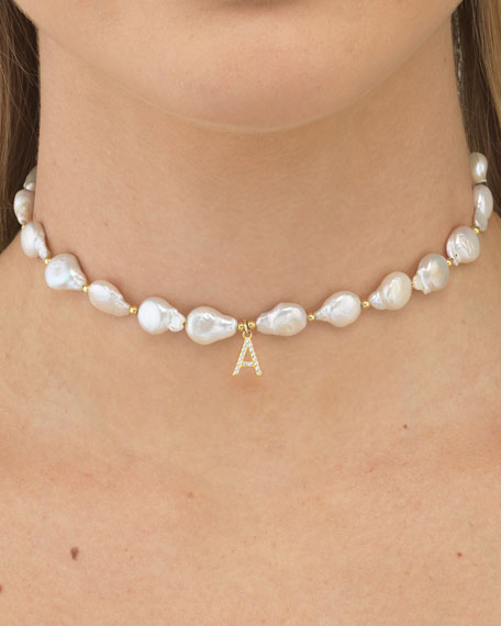 ADINAS JEWELS Cubic Zirconia Initial Choker with Pearls