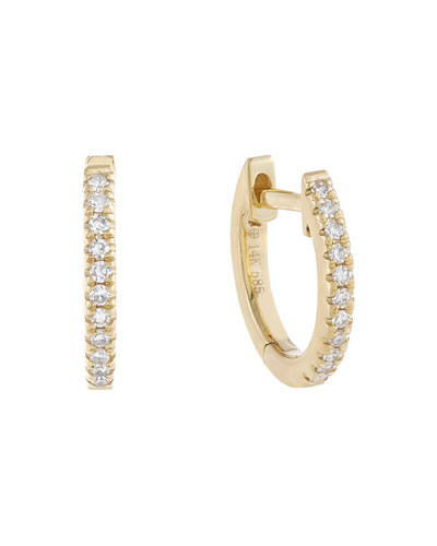 14k Gold Diamond Huggie Earrings  10mm