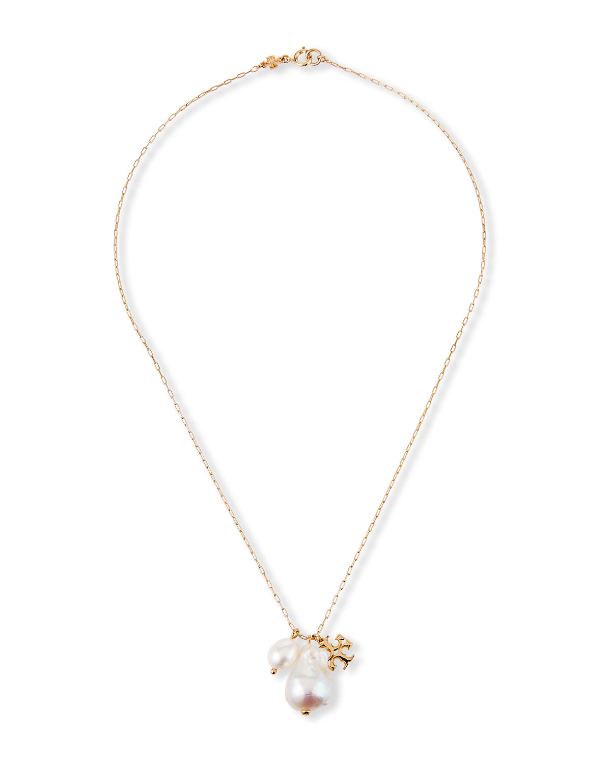 Tory Burch Kira Pearl Charm Necklace