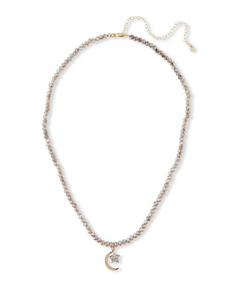 Sydney Evan Labradorite Diamond Moon and Star Necklace