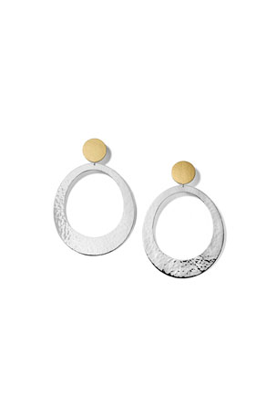 Ippolita Extra Large Classico Bonded Round Oval Open Disc Snowman Earring in Chimera, Two Tone