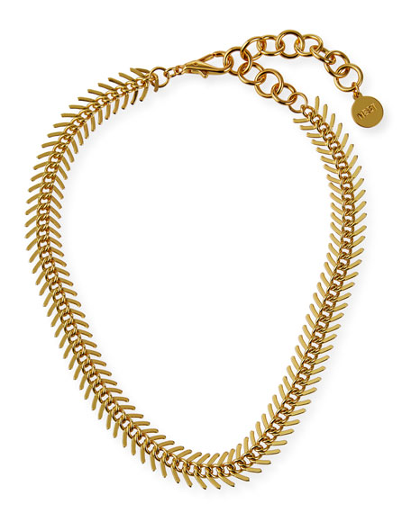 NEST Jewelry Gold Fishbone Chain Collar Necklace