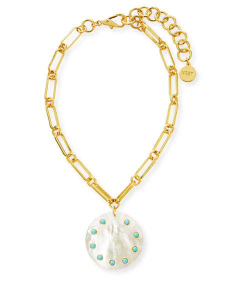 NEST Jewelry Oval Link Necklace with Turquoise Studded Mother-of-Pearl Pendant