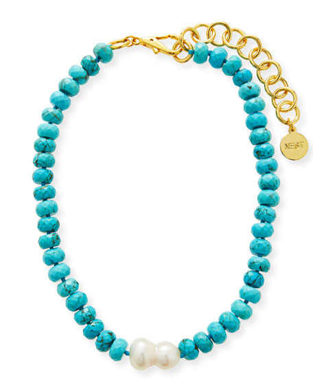 NEST Jewelry Turquoise Bead and Single Baroque Pearl Short Necklace