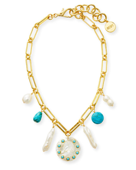 NEST Jewelry Pearl, Turquoise and Carved Cameo Charm Necklace