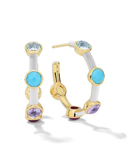 Ippolita Lollipop Carnevale 5-Stone Hoop Earrings in 18K Gold with Multi Stones and White Ceramic