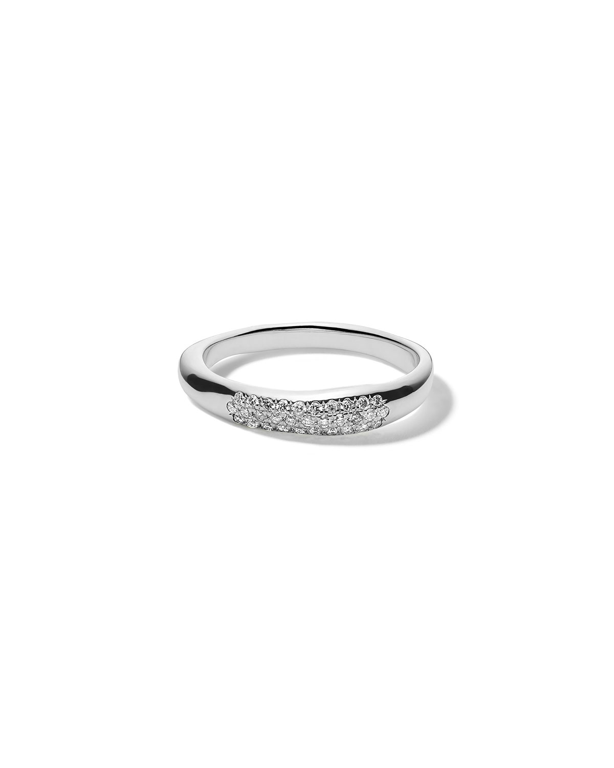Ippolita Stardust Pave Squiggle Band Ring in Sterling Silver with Diamonds, Size 7