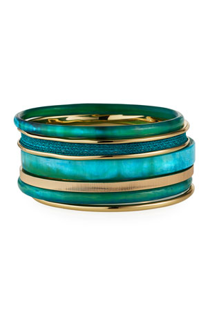 Akola Horn and Raffia Bangle Bracelets, Set of 6, Turquoise