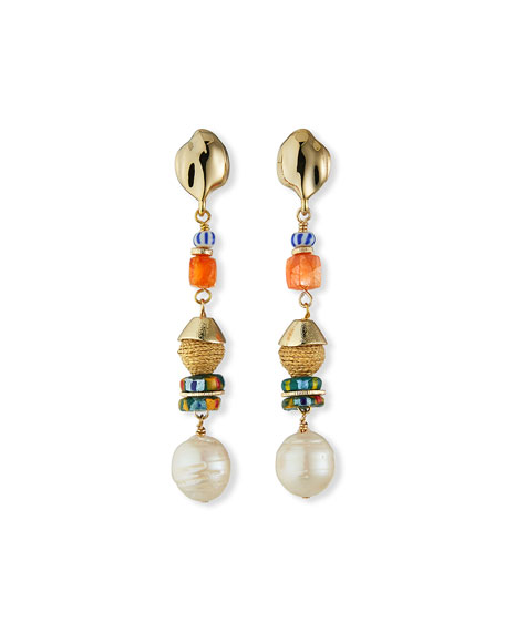Image 1 of 2: Akola Pearl and Mixed-Bead Earrings