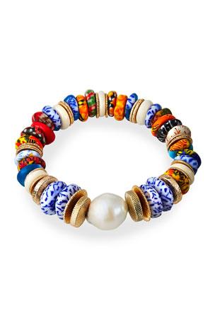 Akola Pearl and Bead Stretch Bracelet