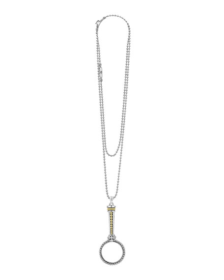 Image 2 of 4: Lagos Signature Caviar Magnifying Glass Necklace, Two-Tone