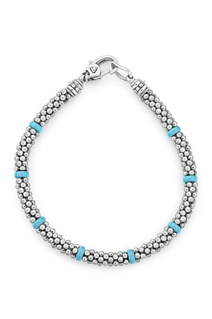 Lagos Blue Caviar Ceramic Station Bracelet, 5mm