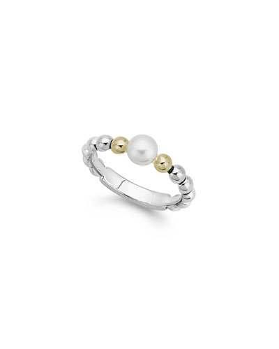Luna Pearl 2-Tone Stack Ring  Size 7