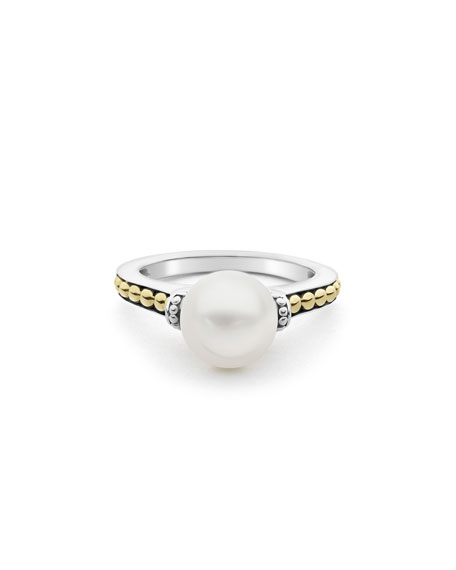 Image 2 of 4: Lagos Luna 9mm Pearl 2-Tone Ring, Size 7