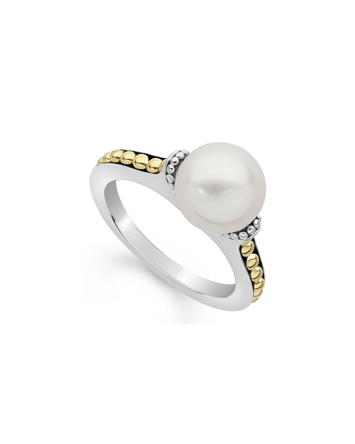 Lagos Luna 9mm Pearl 2-Tone Ring, Size 7