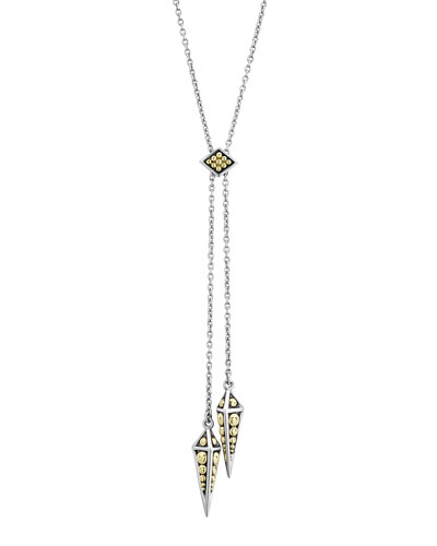 KSL 2-Tone Pyramid-Drop Lariat Necklace