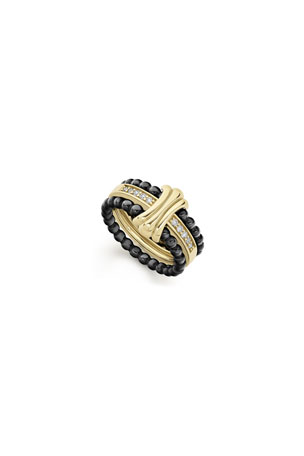 Lagos Color Switch 18k Gold Fluted Center Ceramic Ring