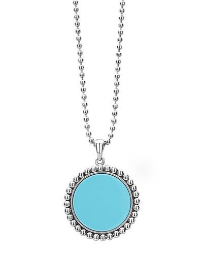 Maya 32mm Inlay Pendant Necklace  Blue