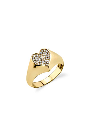 Sydney Evan 14k Diamond Pave Heart Pinky Ring, Size 4