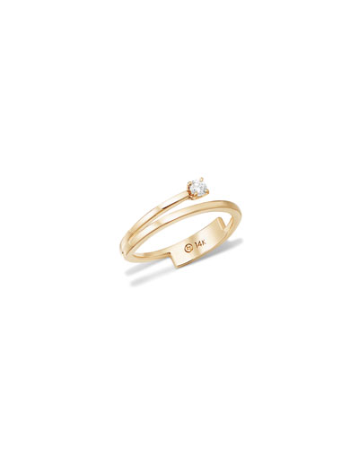 14k Solo Diamond Double-Band Ring  Size 7