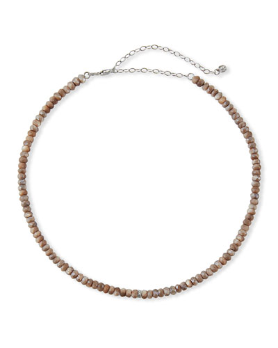 14k White Gold Diamond Rondelle and Moonstone Necklace