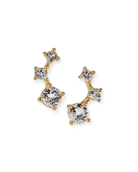 Image 1 of 2: Tai Fine 14k Gold Graduated White Topaz Climber Earrings