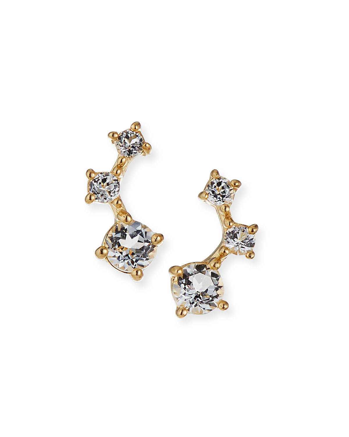 Tai Fine 14k Gold Graduated White Topaz Climber Earrings