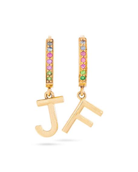STONE AND STRAND Rainbow Gemstone Initial Huggie Earrings