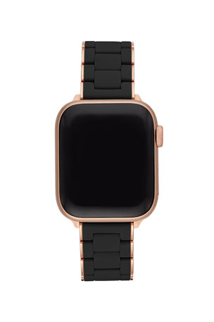 MICHELE 38/40mm Black and Pink Gold-Tone Silicone-Wrap Bracelet Band for Apple Watch $250.00