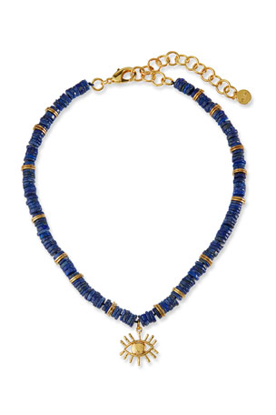 NEST Jewelry Lapis Heishi Bead Evil Eye Necklace
