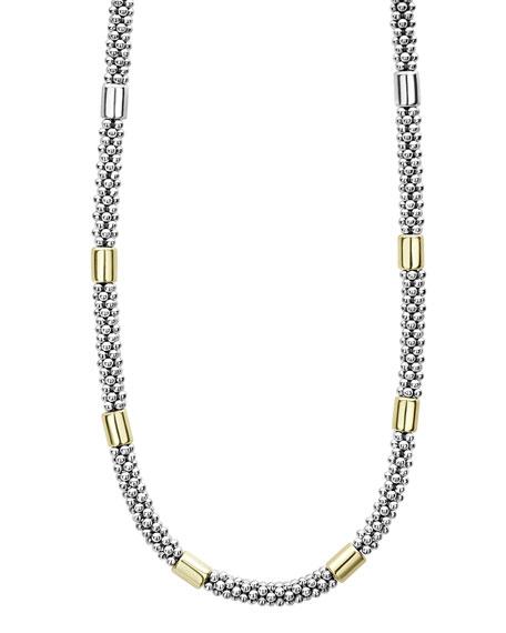 "LAGOS High Bar Caviar Necklace w/ 18k Gold, 18""L"
