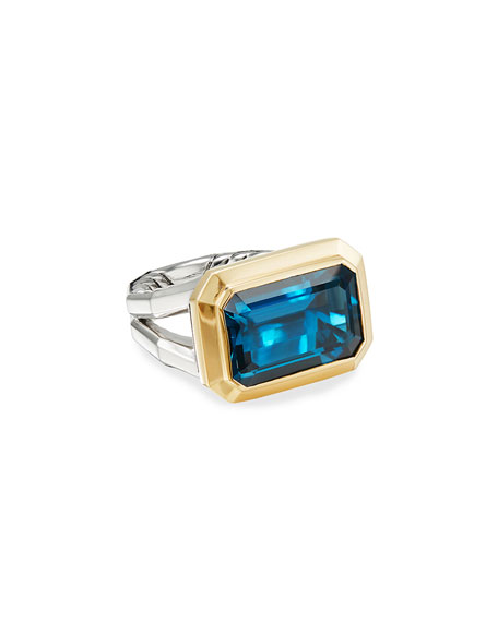 David Yurman Novella 16mm Stone Ring w/ 18k Gold & Topaz, Size 9