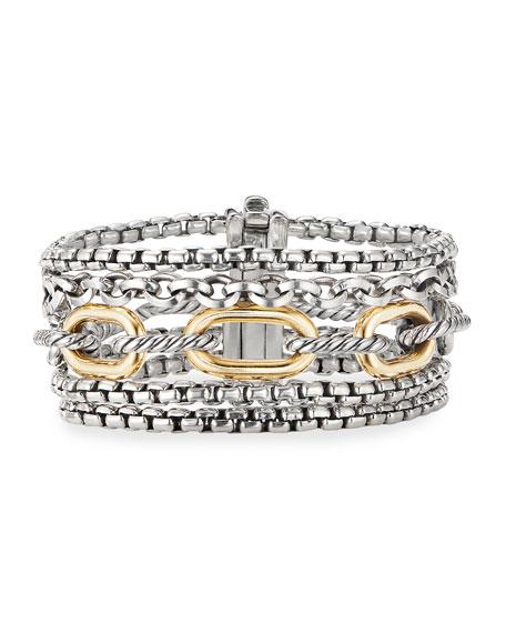 David Yurman Multi-Row Chain Bracelet w/ 18k Gold, Size L