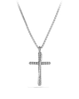 David Yurman Pave Diamond Crossover Cross Necklace