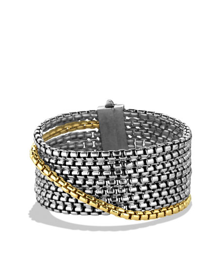 Box Chain Eight-Row Bracelet with Gold
