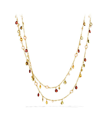 David Yurman Bead Necklace with Peach Pearls and Garnet in Gold