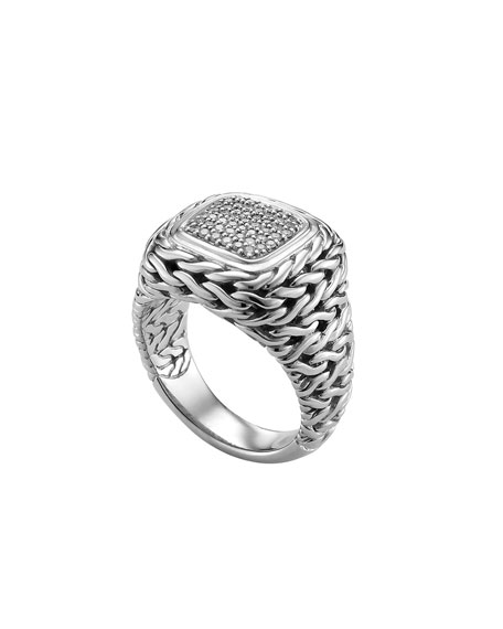 Pave Diamond Square Ring