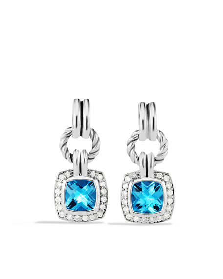 Renaissance Drop Earrings with Blue Topaz and Diamonds