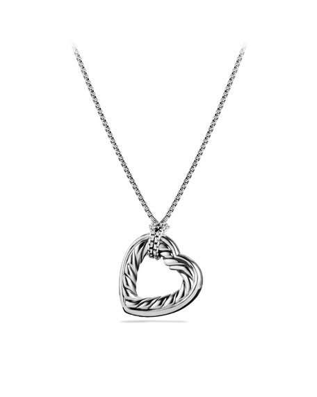 Cable Heart Large Pendant with Gold on Chain