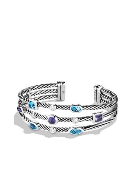 Confetti Three-Row Cuff with Blue Topaz, Iolite, and Diamonds