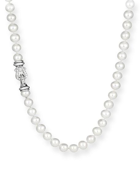 "David Yurman Pearl Necklace with Diamonds, 24"""