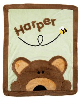Boogie Baby Peek-a-Boo Bear Blanket, Personalized