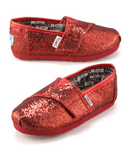 TOMS Red Glitter Shoe, Tiny