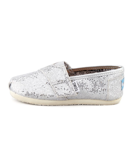 Solid Silver Glitter Slip-On, Tiny