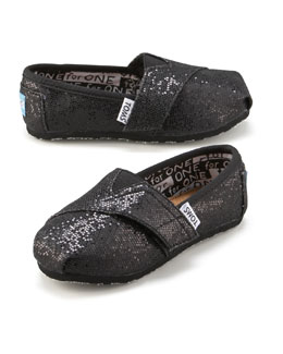 TOMS Black Glitter Shoe, Tiny