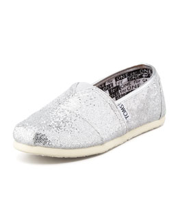 TOMS Swirl-Print Glitter Slip-On, Youth
