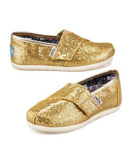 TOMS Gold Glitter Shoe, Tiny