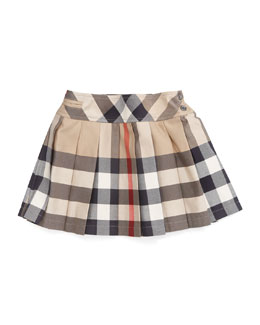 Burberry Side-Button Check Kilt, 12M-3Y
