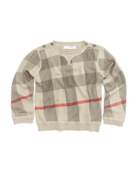 Button-Shoulder Check Sweater