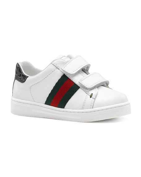 Ace Double-Strap Sneaker, White, Toddler